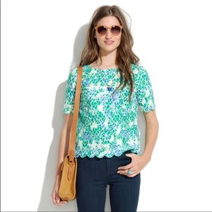 Madewell Painted Lace Floral Top